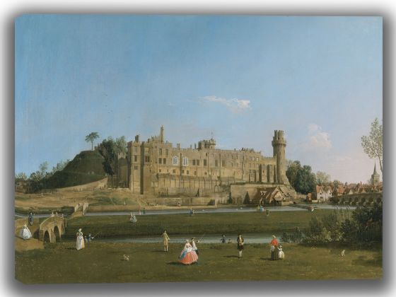 Canaletto, Giovanni Antonio Canal: Warwick Castle. Fine Art Canvas. Sizes: A4/A3/A2/A1 (004113)